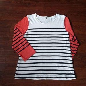J. Crew orange white black striped colorblock top